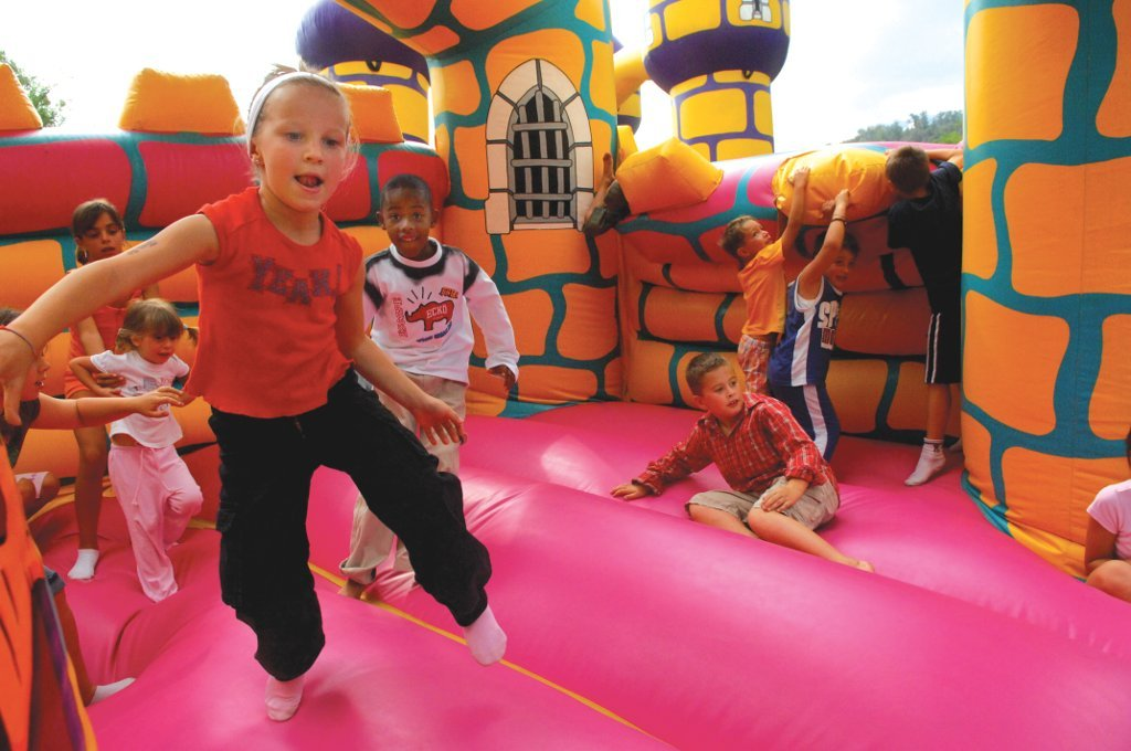 Fun bounce house party