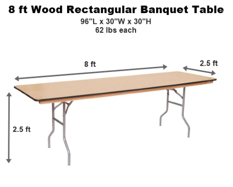 8 ft Rectangular Tables