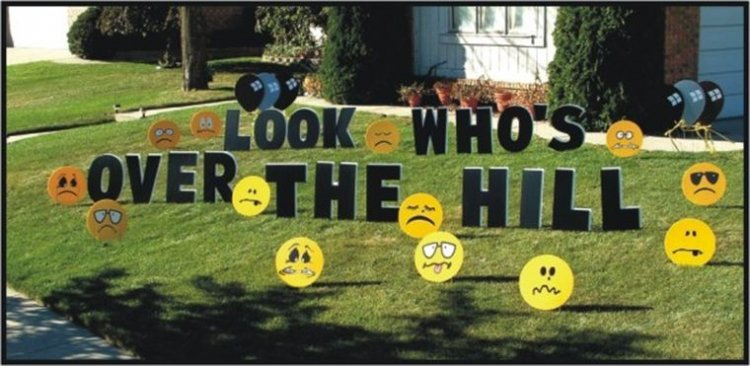 Over The Hill - Insult Faces - Yard Art