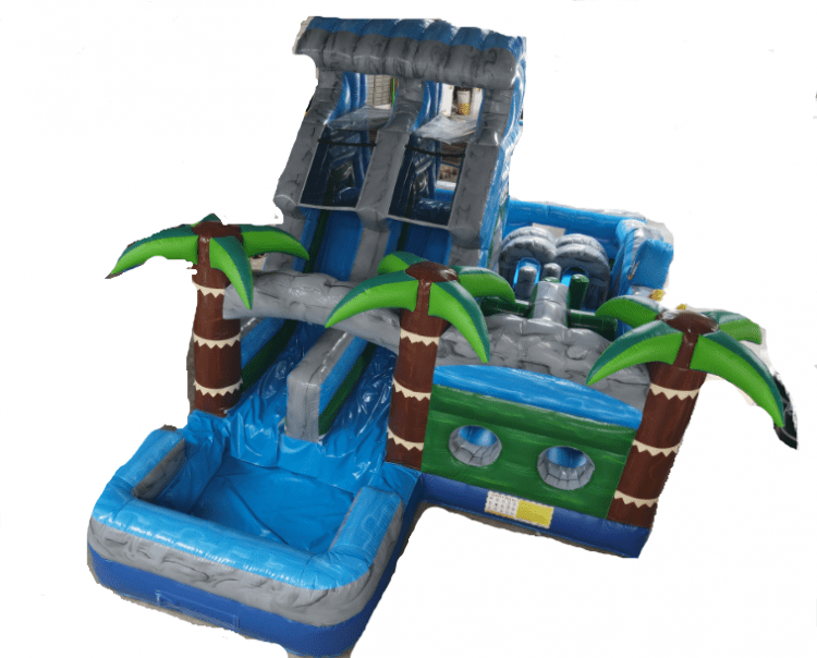 17ft Tropical Dual Lane Wet Obstacle Course